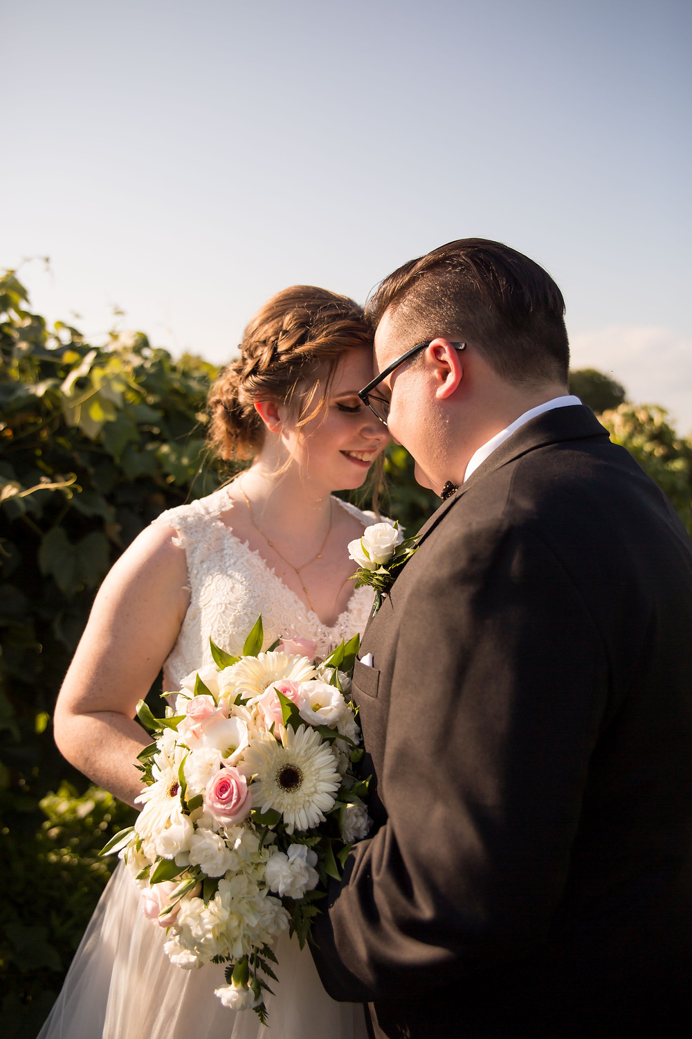 bridal portrait Becker Farms Vineyards Gasport NY summer wedding elopement