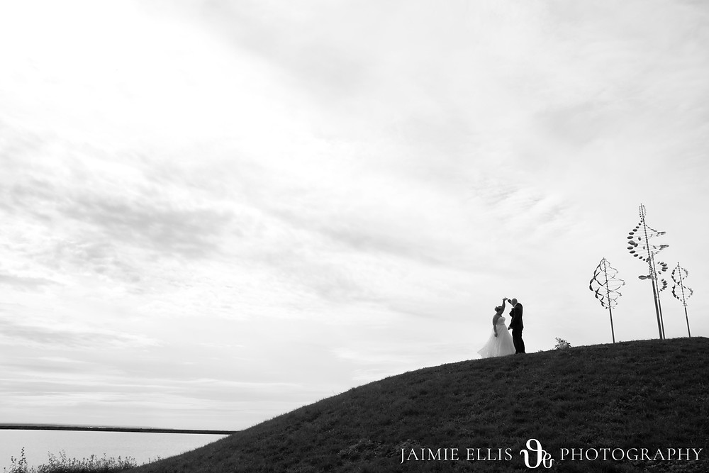 bride and groom dancing on top of the hill at Wilkinson Pointe at Buffalo's Outer Harbor