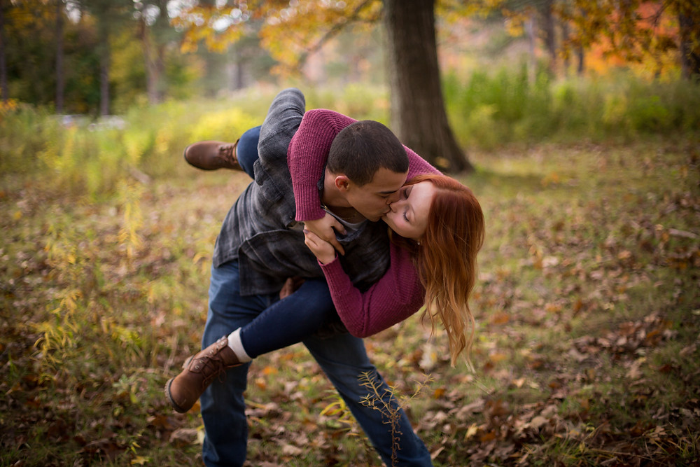 intimate emotional engagement session in the fall at Chestnut Ridge Orchard Park NY