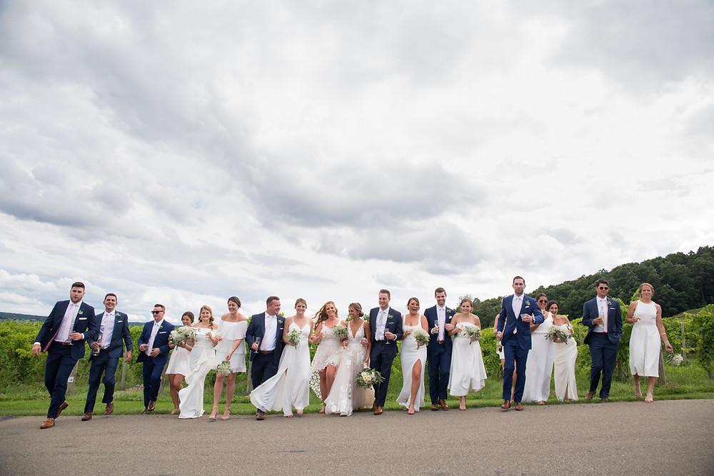 bridal party in vineyard at Heron Hill Winery Wedding Venue Keuka Lake Finger Lakes