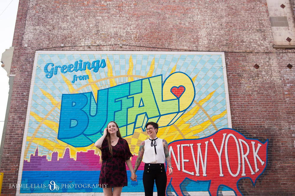 Greetings from Buffalo mural lgbtq same sex wedding engagement photo