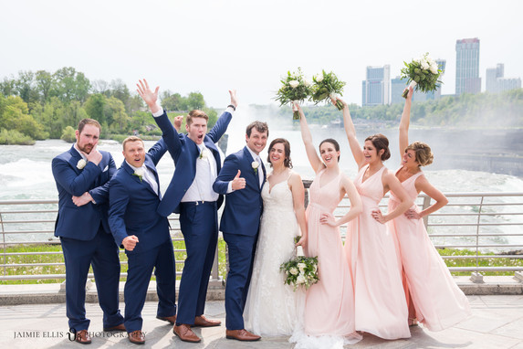 wedding party photo with bride and groom after wedding at Niagara Falls State Park NY USA