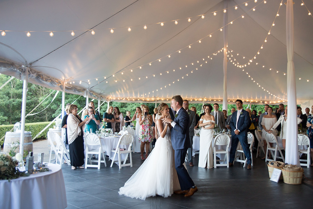 bride and groom intimate first dance at Heron Hill Winery Wedding Venue Keuka Finger Lakes NY