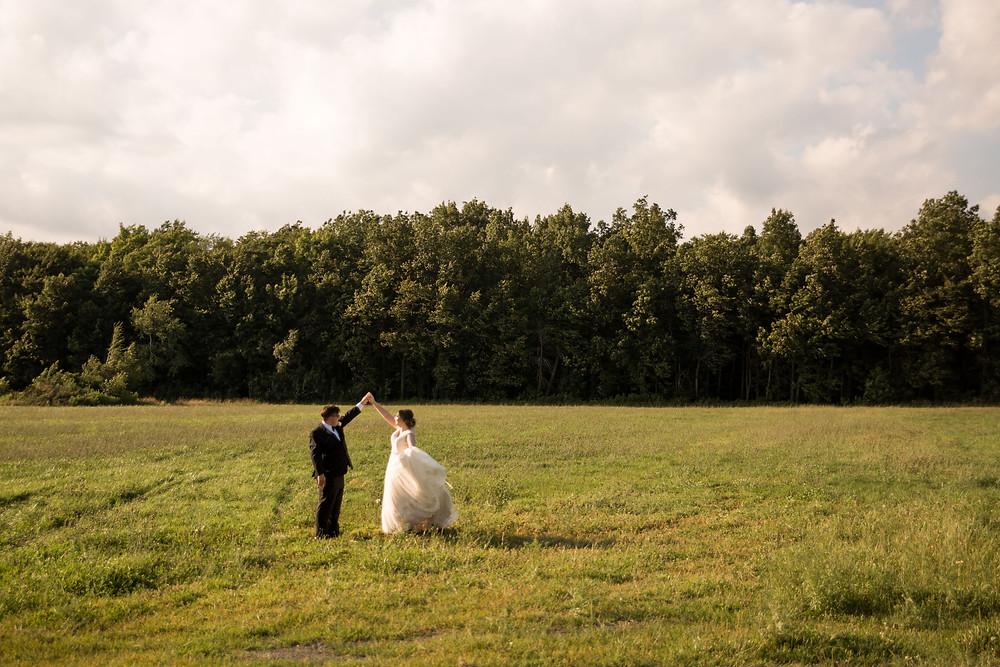 bridal portrait dancing Becker Farms Vizcarra Vineyards Gasport NY intimate wedding