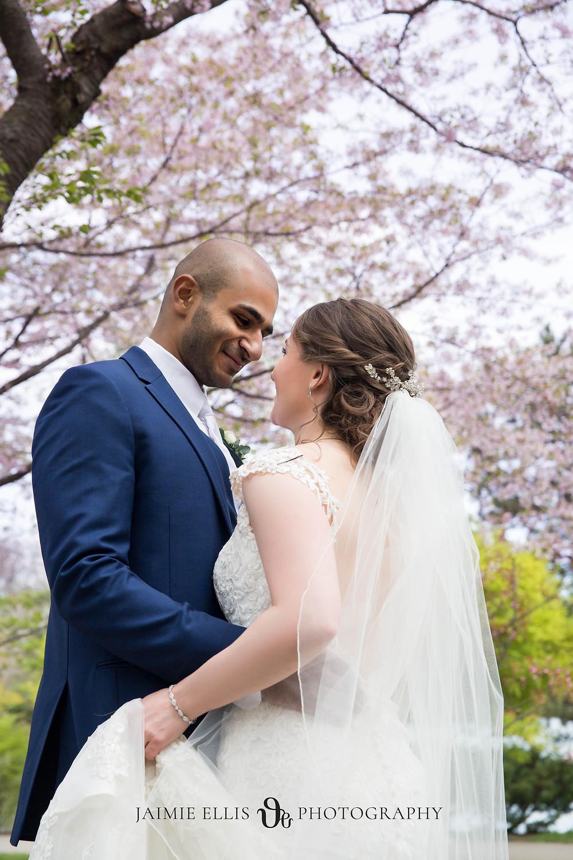 bride and groom wedding cherry blossom japanese gardens Buffalo