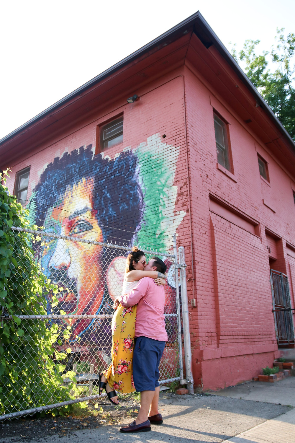 downtown Rochester Engagement jimi hendrix mural