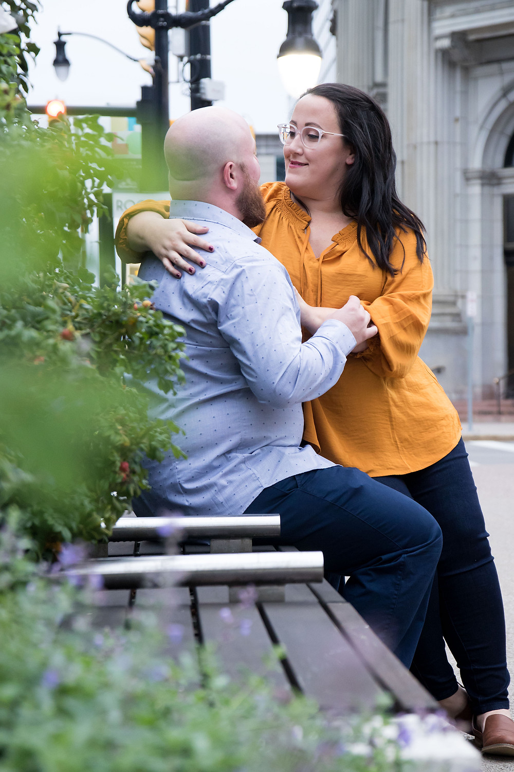 casual downtown Buffalo engagement photo session