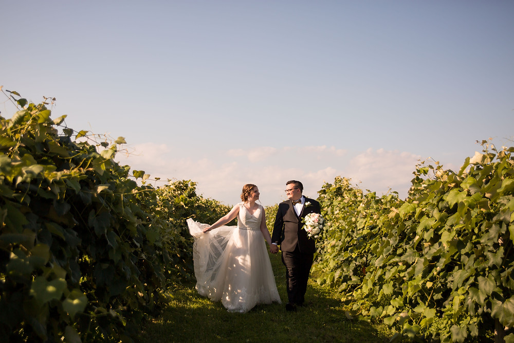 bridal portrait Vizcarra Vineyards Gasport NY summer wedding elopement