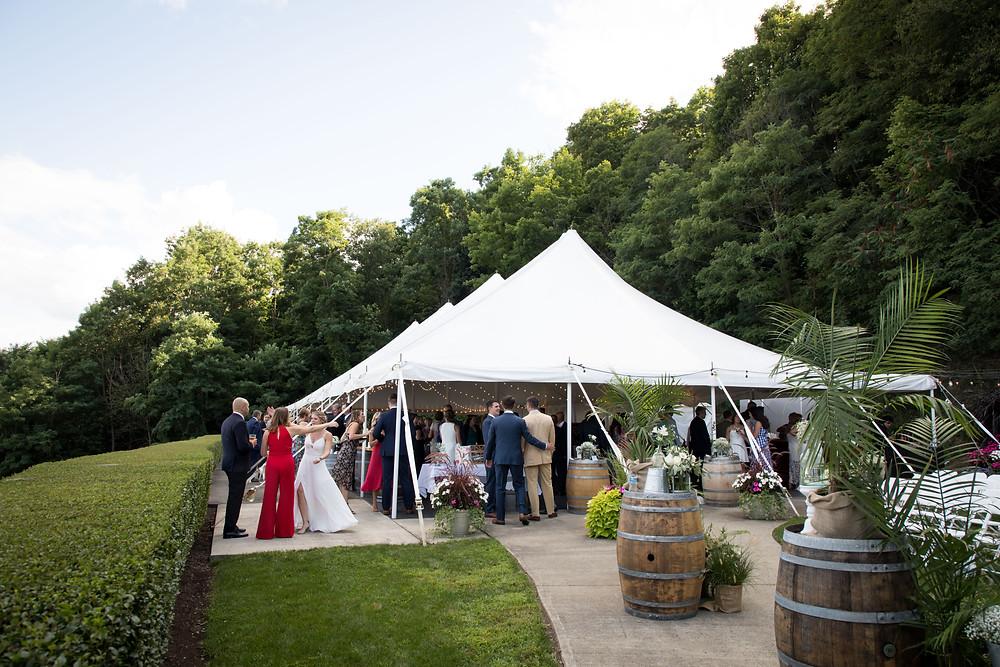 wedding reception white tent at Heron Hill Winery Keuka Finger Lakes NY