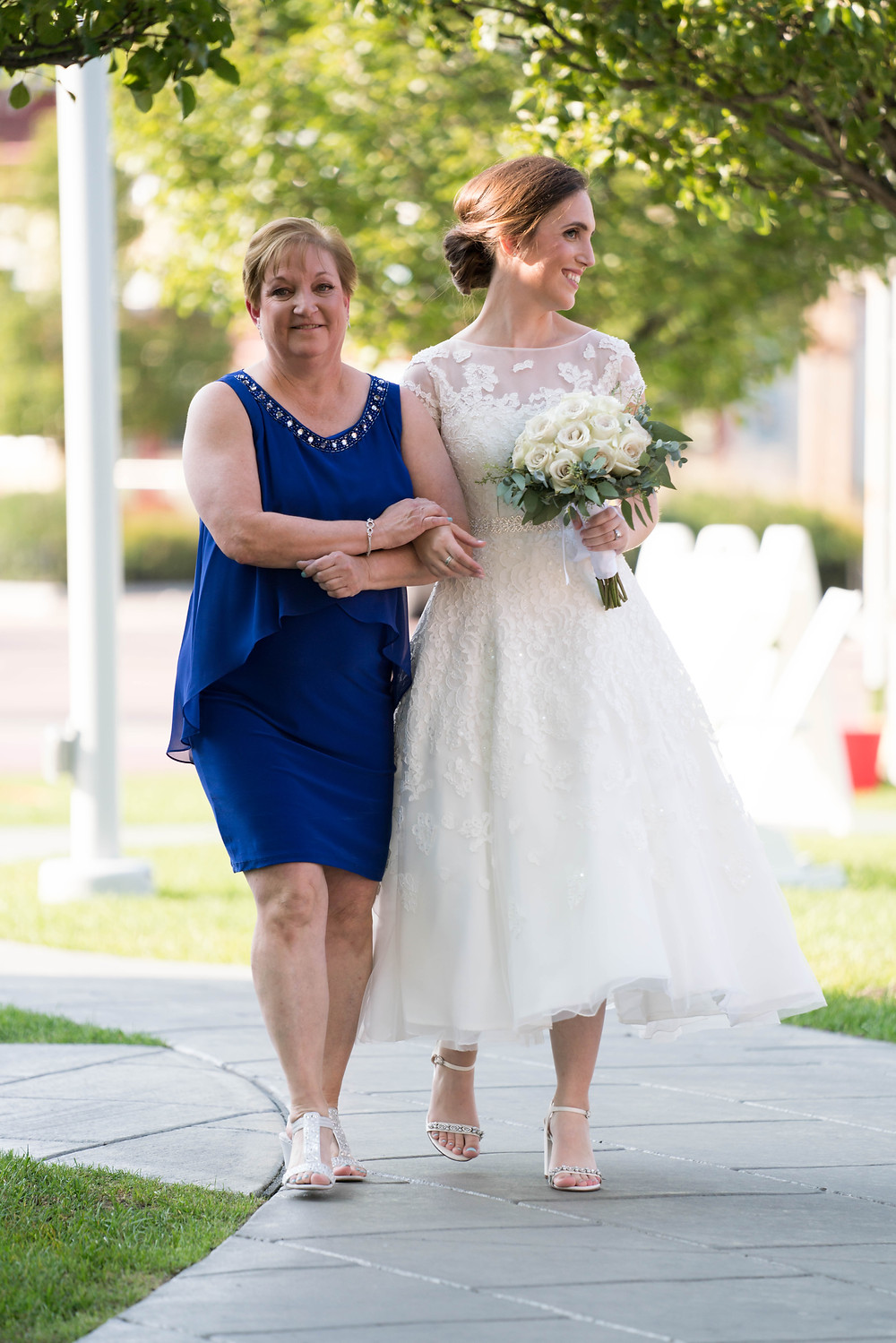 mom walking bride down aisle Larkinville Buffalo NY Larkin Wedding Ceremony Outdoor venue