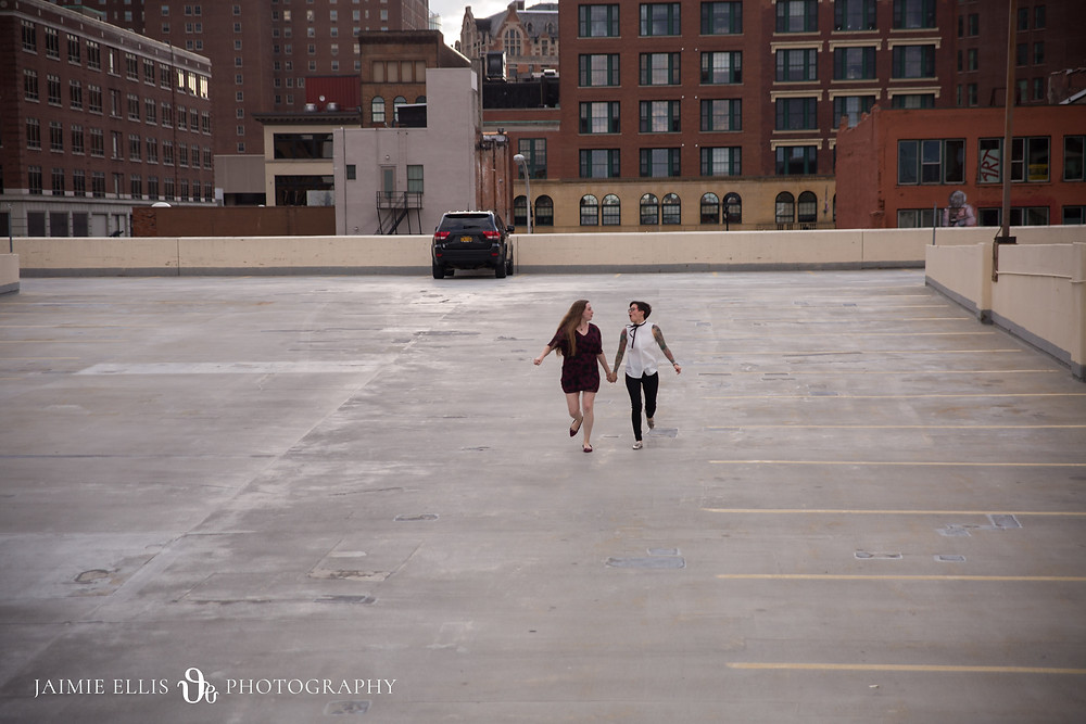 downtown buffalo rooftop lgbt same sex engagement photo
