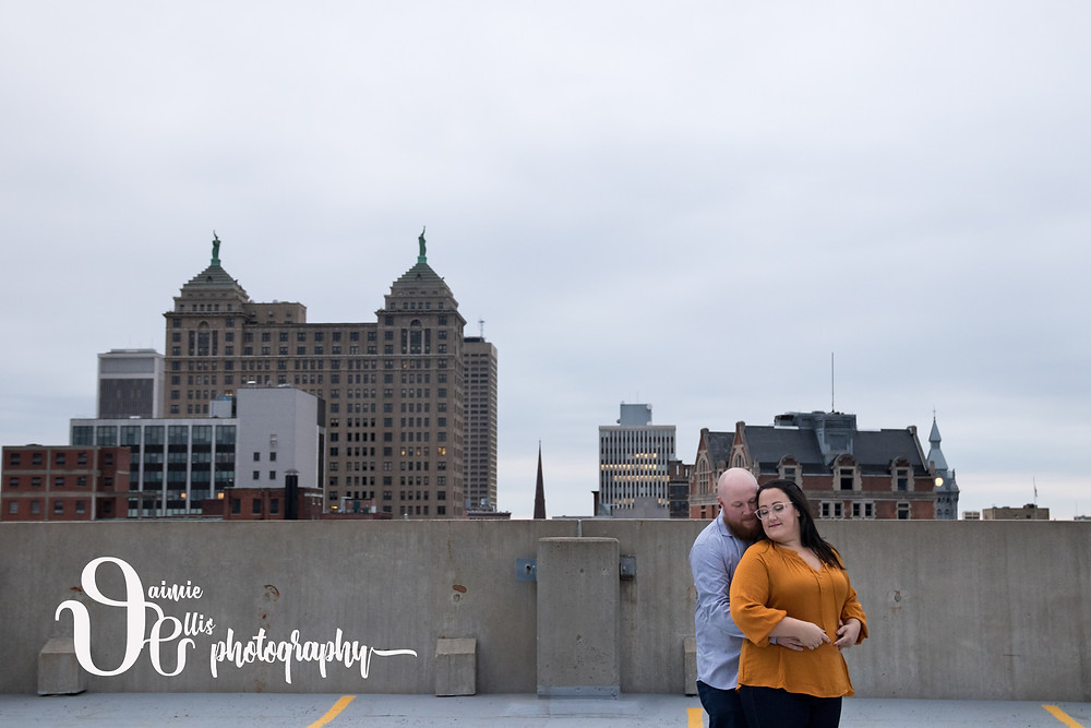 downtown Buffalo engagement photos parking garage rooftop