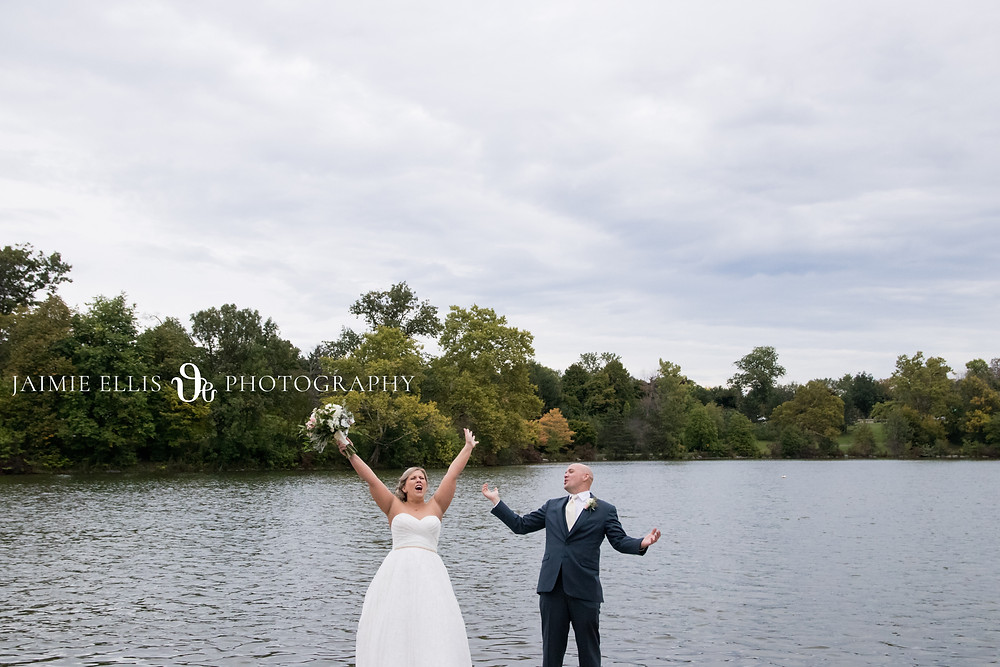 bride and groom wedding photo at Hoyt Lake Delaware Park in Buffalo
