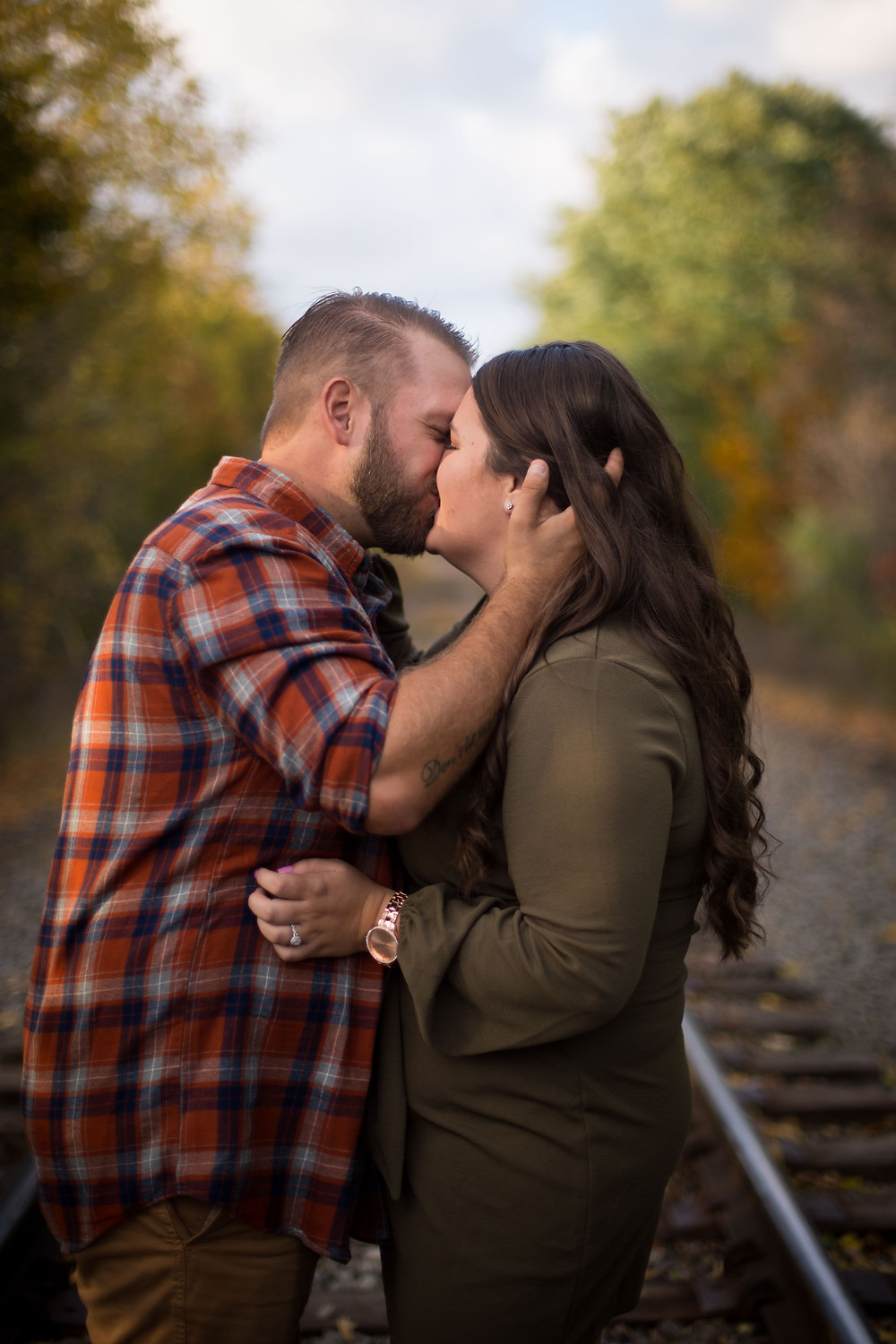 best fall foliage east aurora engagement photo