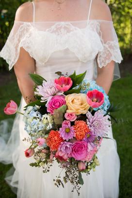 colorful backyard intimate wedding elope