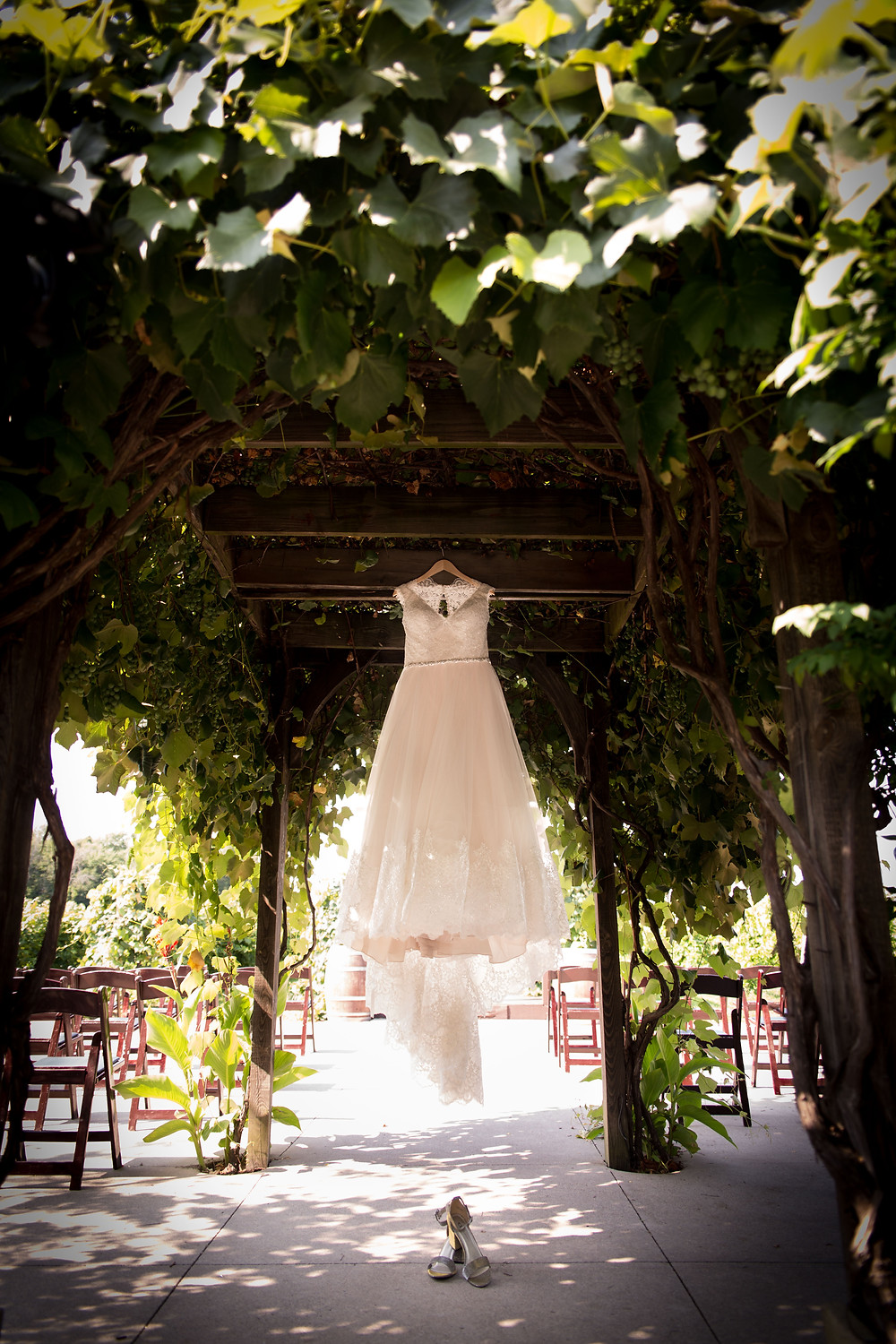 wedding dress Becker Farms Vizcarra Vineyards Gasport NY intimate wedding elopement