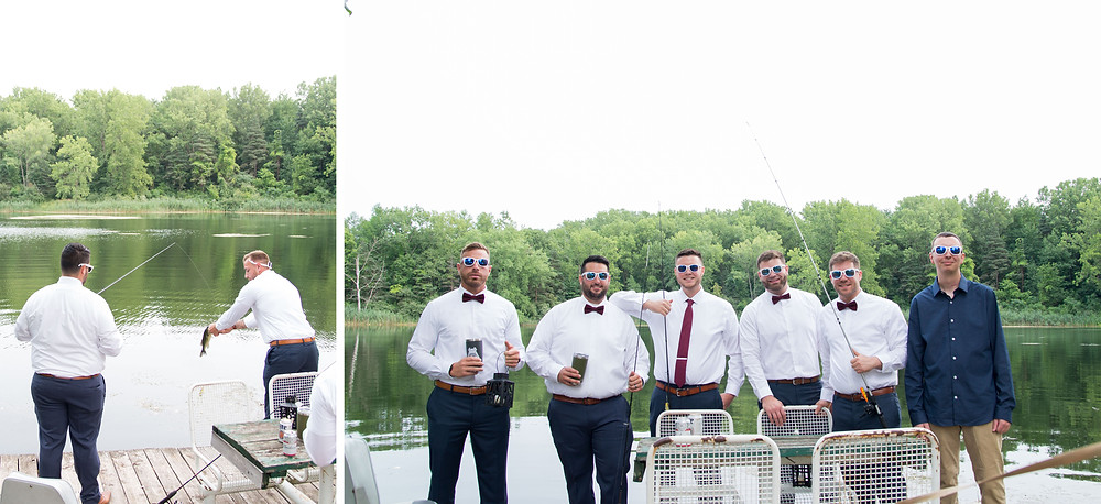 groomsmen fishing spring lake winery wedding lockport