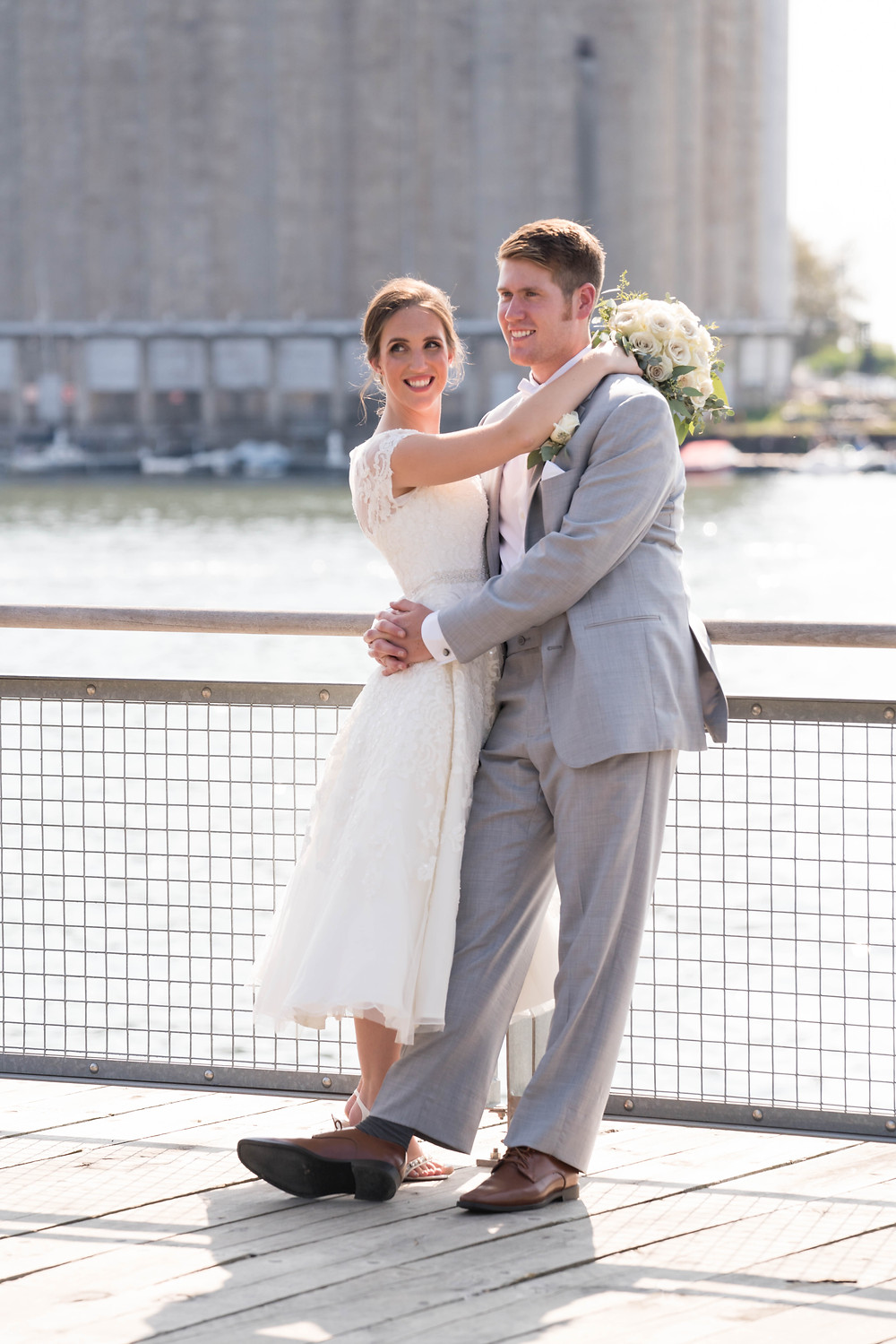 Buffalo Canalside bride and groom wedding photo with silo summer outdoor venue