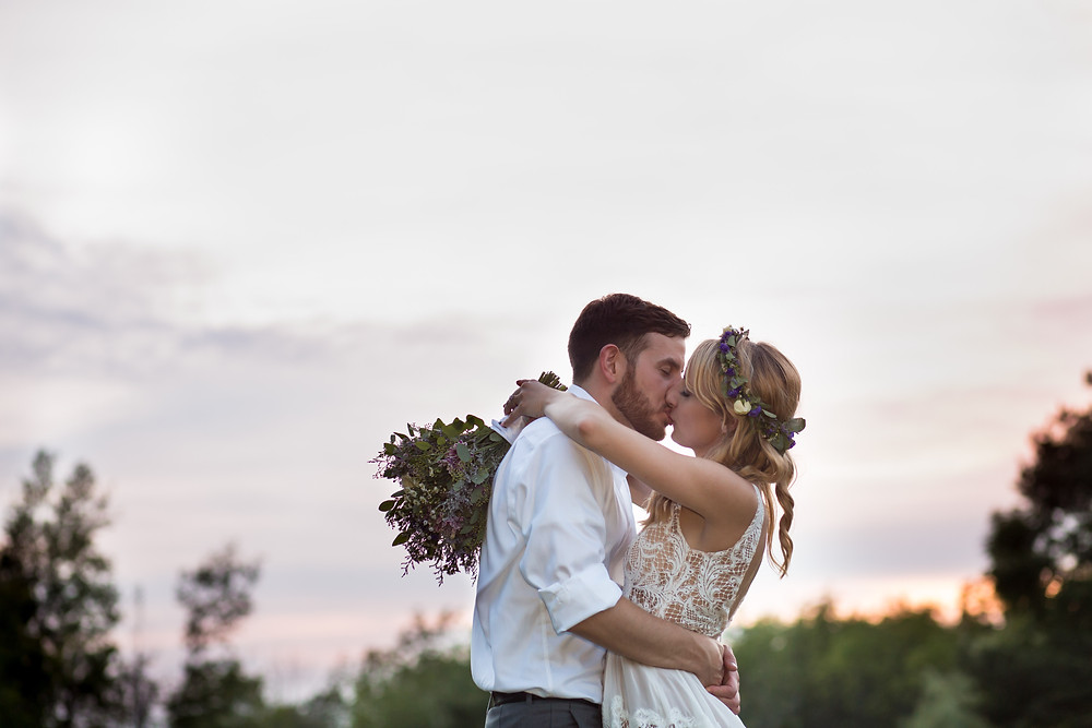 golden hour sunset bride and groom photo at La Esposita Bonita Wedding in Varysburg NY