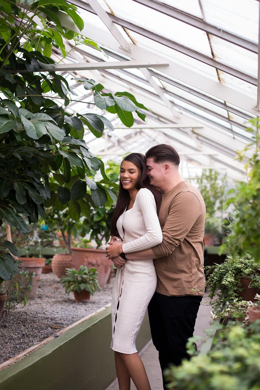 indoor winter engagement session photo spot Buffalo Erie Botanical Gardens