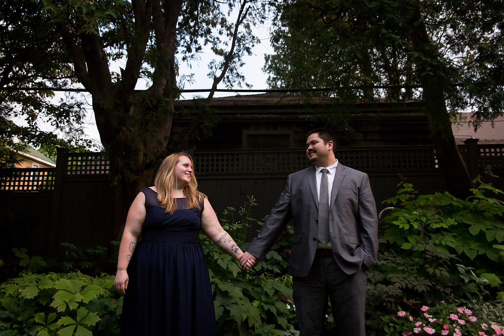 formal suit and dress engagement couple photo Sunken Garden Warner Castle Rochester NY