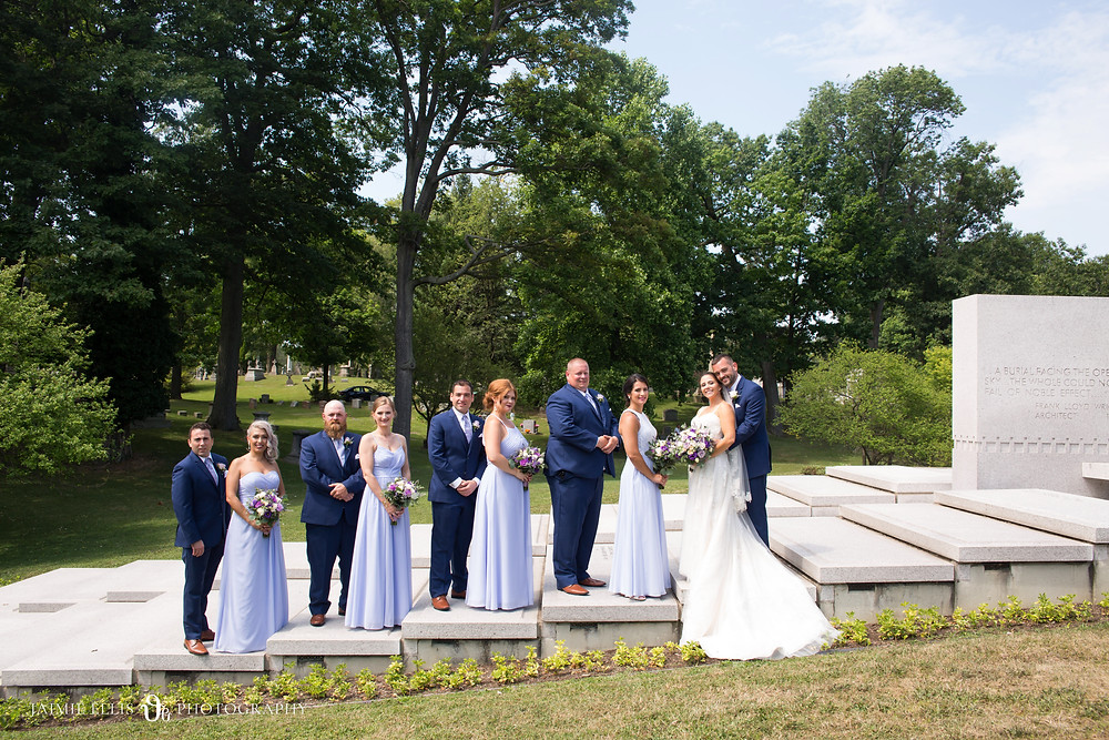 bridal party at Forest Lawn Cemetery in Buffalo NY