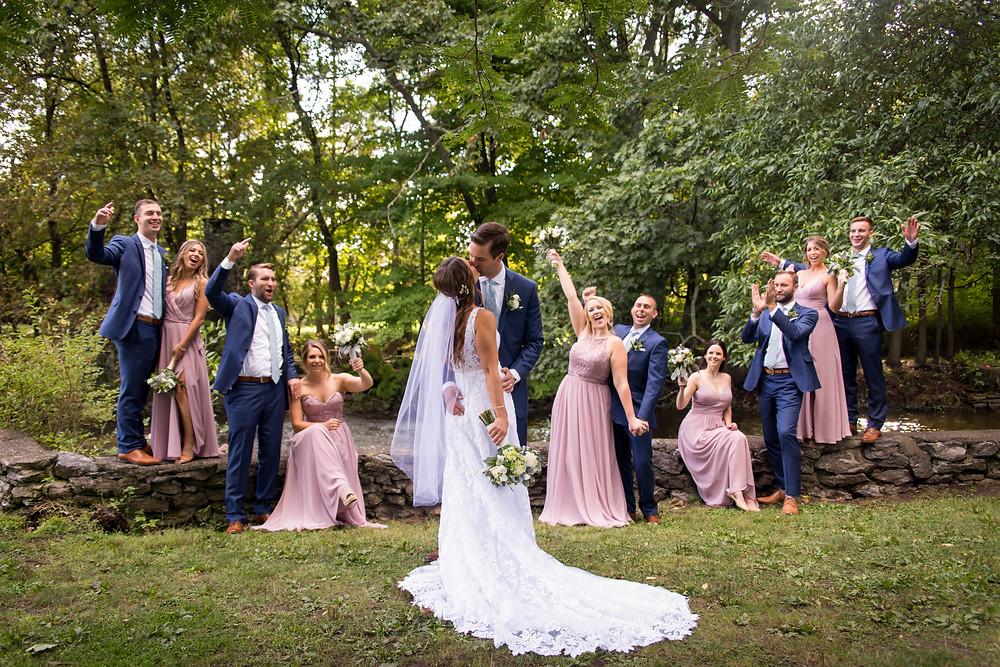 bride groom party Island Park Williamsville NY wedding day bridal portrait
