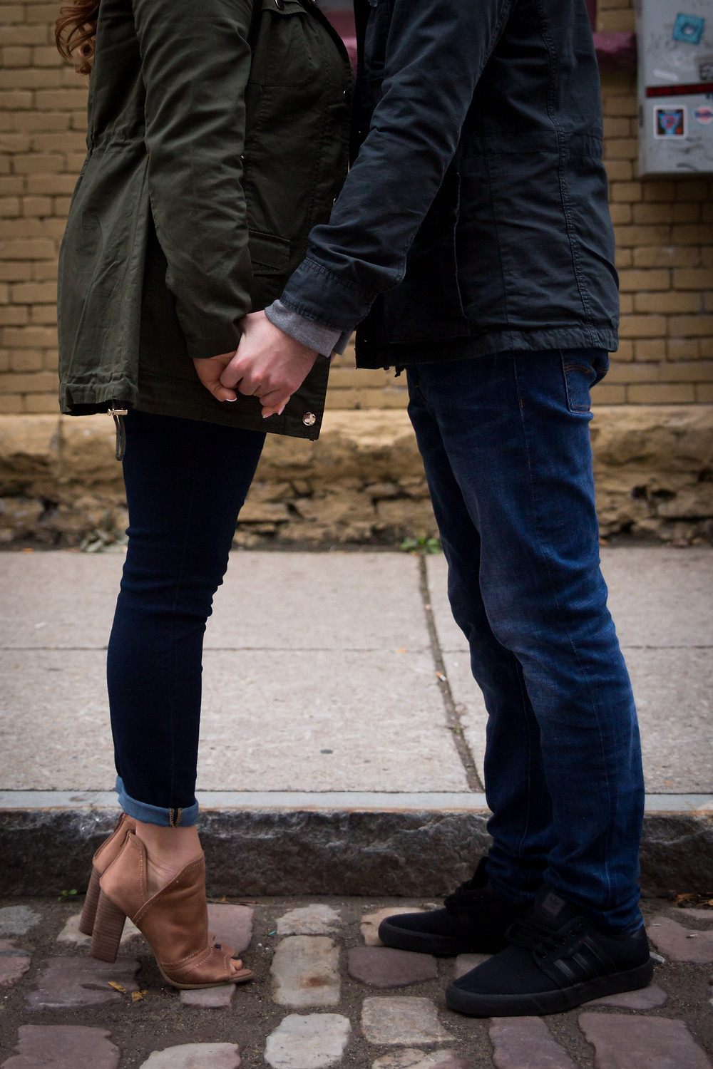 intimate cobblestone district Buffalo couples photo shoot engagement session