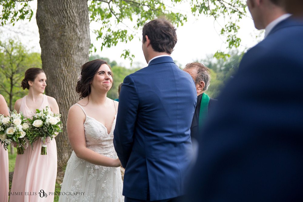bride looks at her groom during intimate wedding ceremony photo at Niagara Falls State Park NY USA