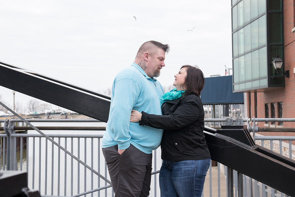buffalo ny canalside bridge engagement wedding