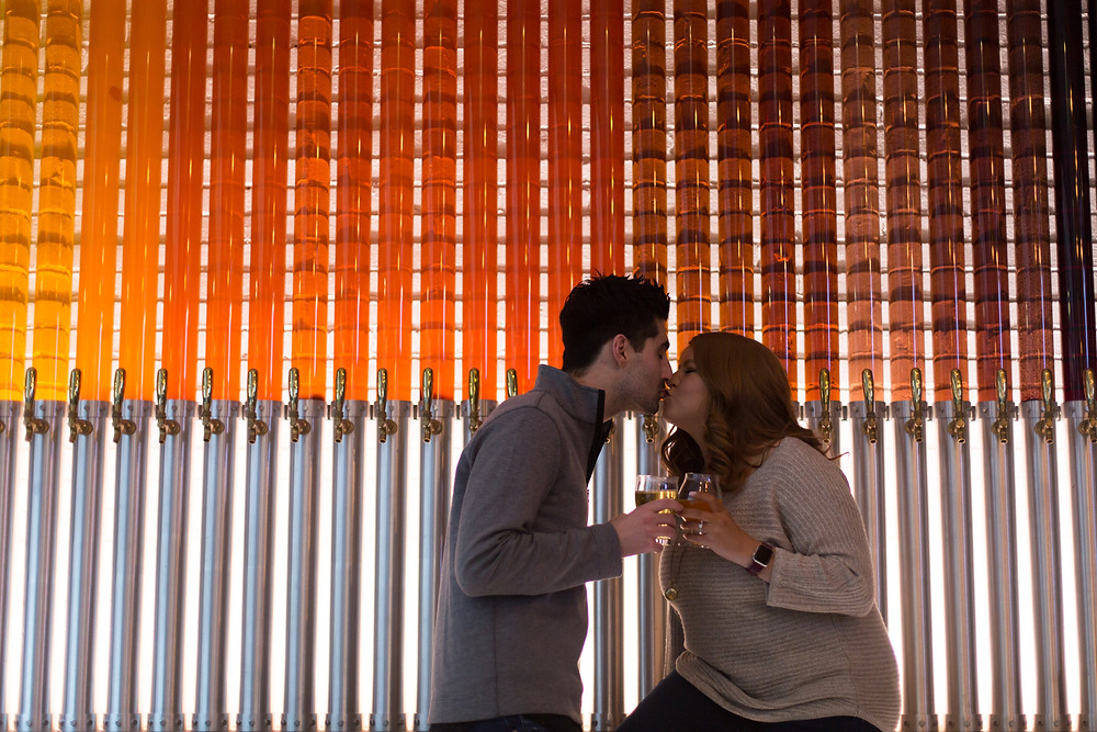 labatt brew house buffalo wall of beer engagement photo