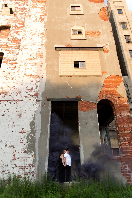 Silo City Buffalo couples engagement photo shoot with smoke bombs