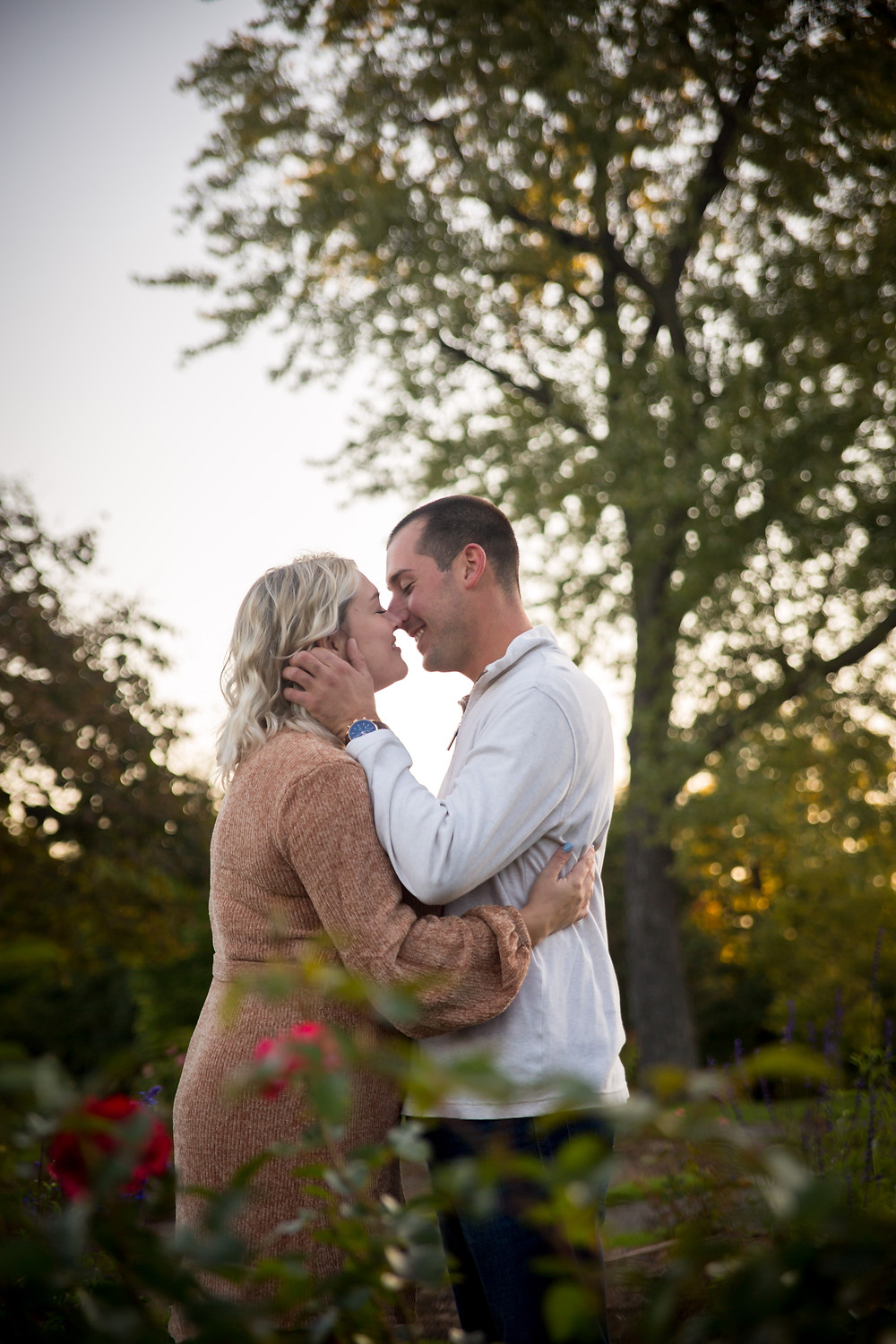 sunrise golden hour engagement photo Rose garden Delaware Park Buffalo NY