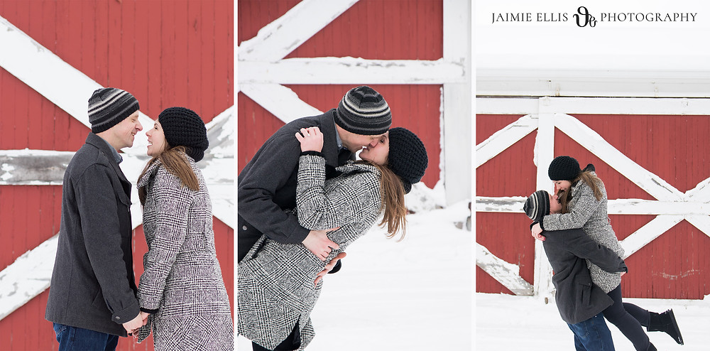 Snowy Winter Knox Farm Engagement Session in East Aurora NY