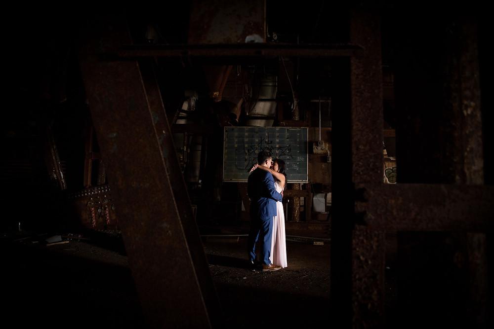 dramatic formal Silo City Buffalo couples engagement photo