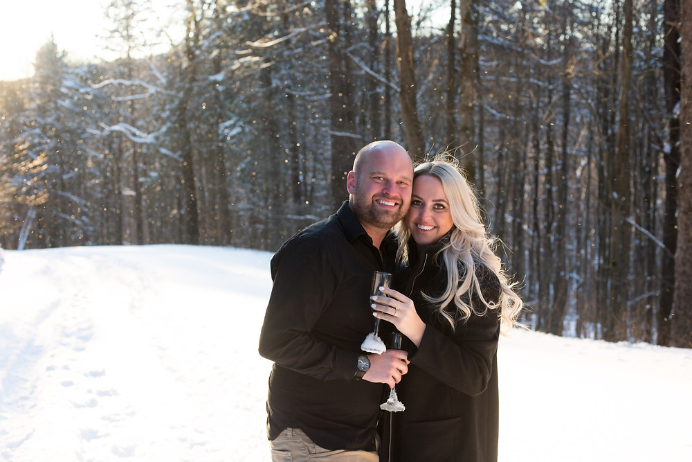 snowy winter golden hour engagement photo ellicottville ny