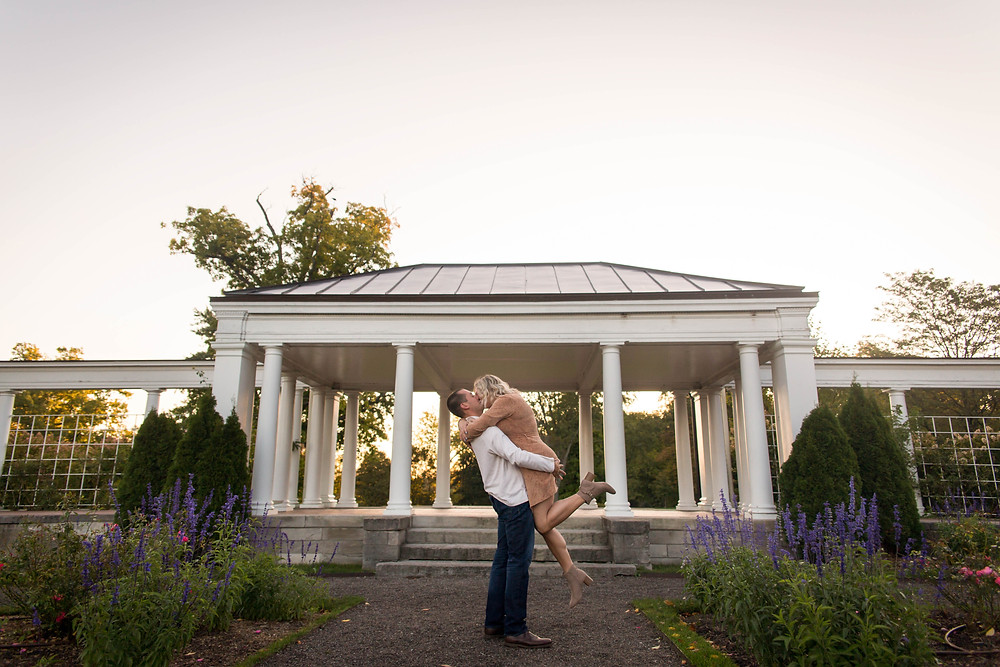 sunrise golden hour pink sky couples engagement photo Hoyt Lake Delaware Park Buffalo NY