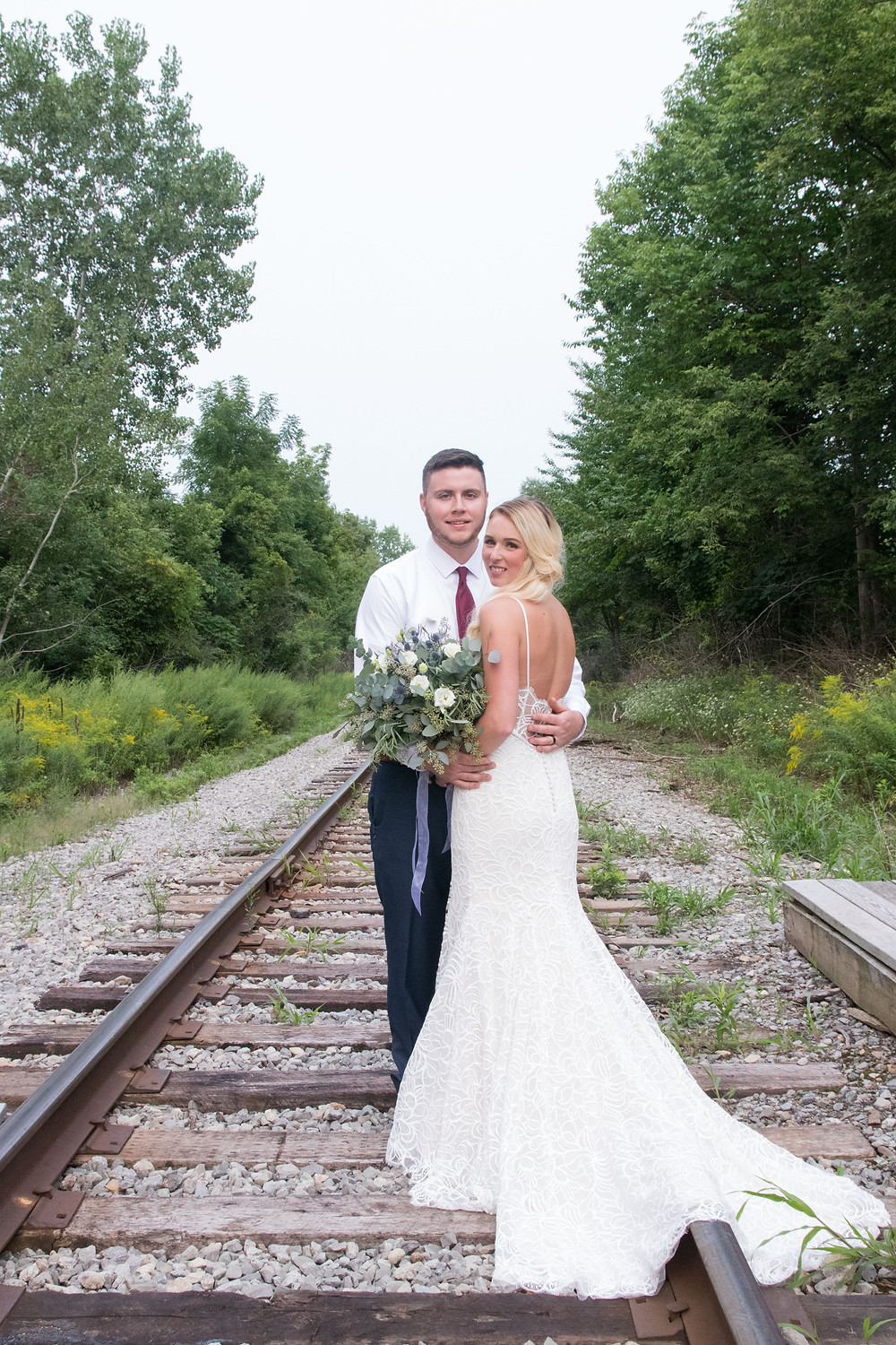 spring lake winery wedding bridal portraits train tracks lockport