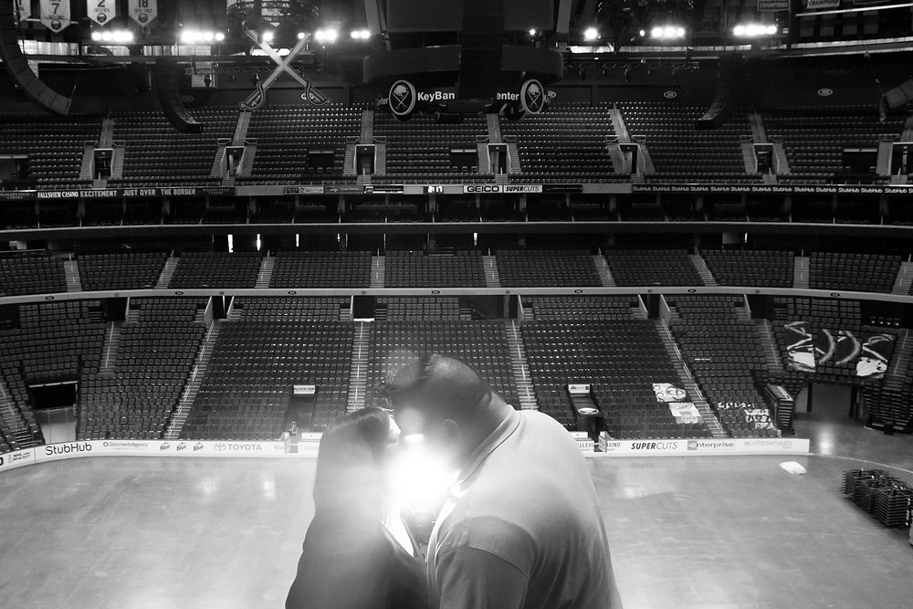 buffalo sabres ice rink engagement photos