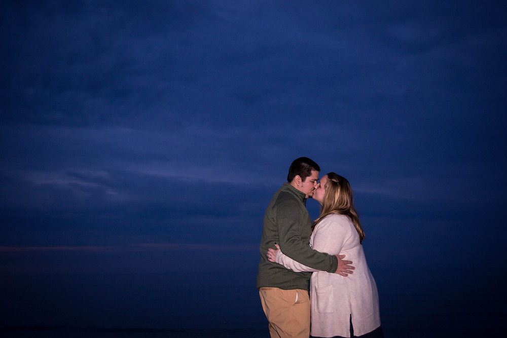 night sky engagement couple photo Durand Beach Rochester NY