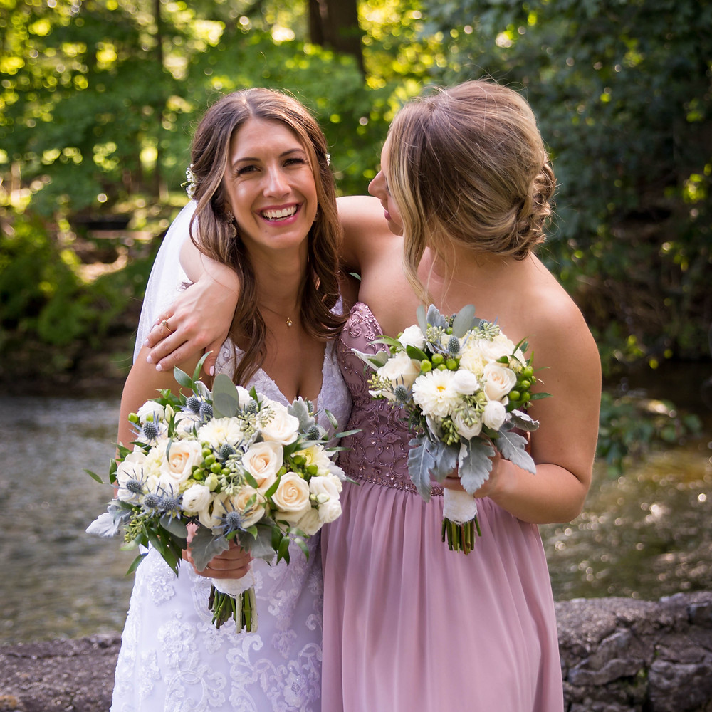 bride and sister bridesmaid Island Park Williamsville NY wedding day bridal portrait
