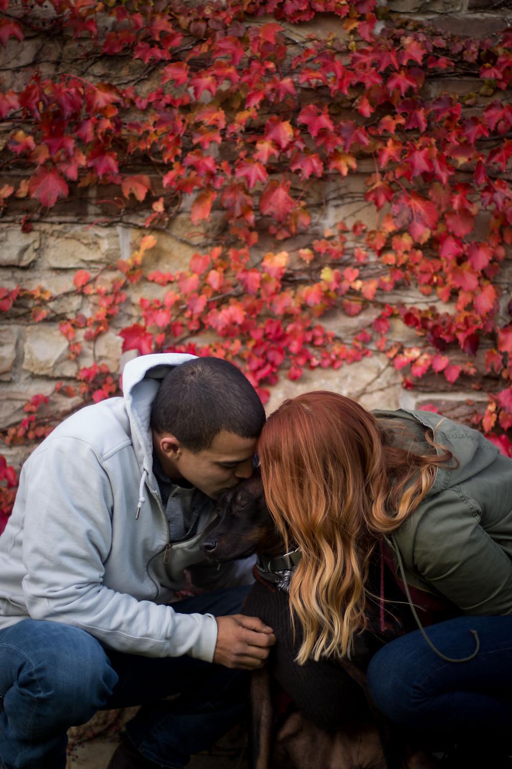 couple with dog engagement photo Chestnut Ridge Park NY