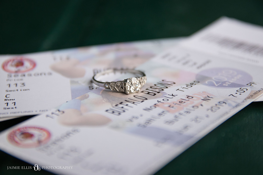 engagement ring on a Buffalo Bisons baseball game ticket