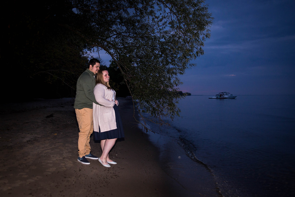 night time engagement couple photo Durand Beach Rochester NY
