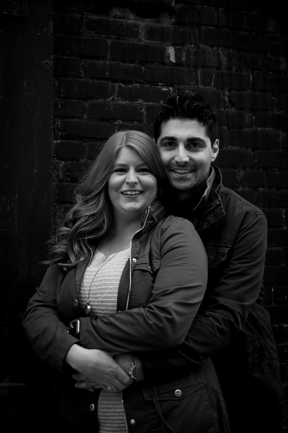 cobblestone district industrial couples engagement photo shoot