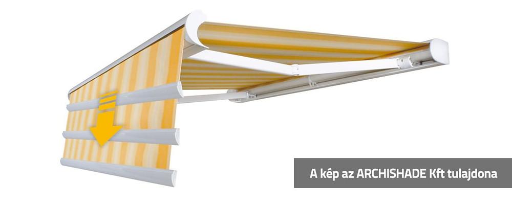 Tokozott napellenző szerkezet motoros árnyéktoldattal