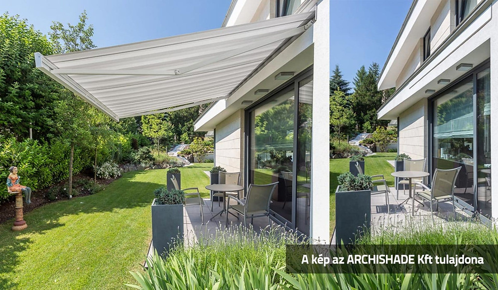 Modern, tokozott, süllyesztett napellenző – square design