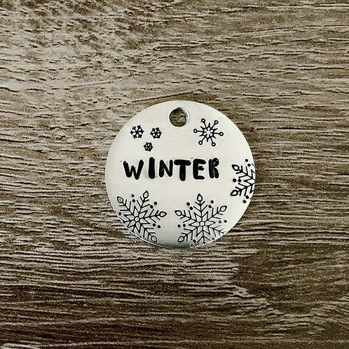 Winter Custom Hand Stamped Pet ID Tags