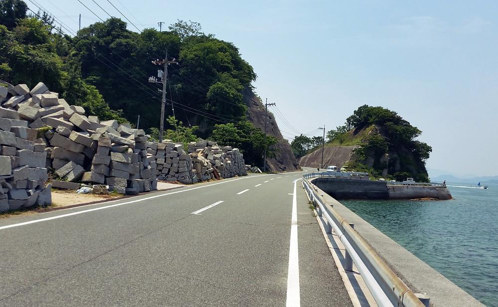 Granite blocks line the roadsides