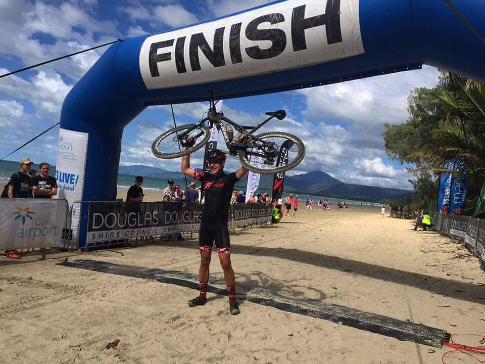 Oliver Phillips celebrates his 2016 RRR win on Four Mile Beach